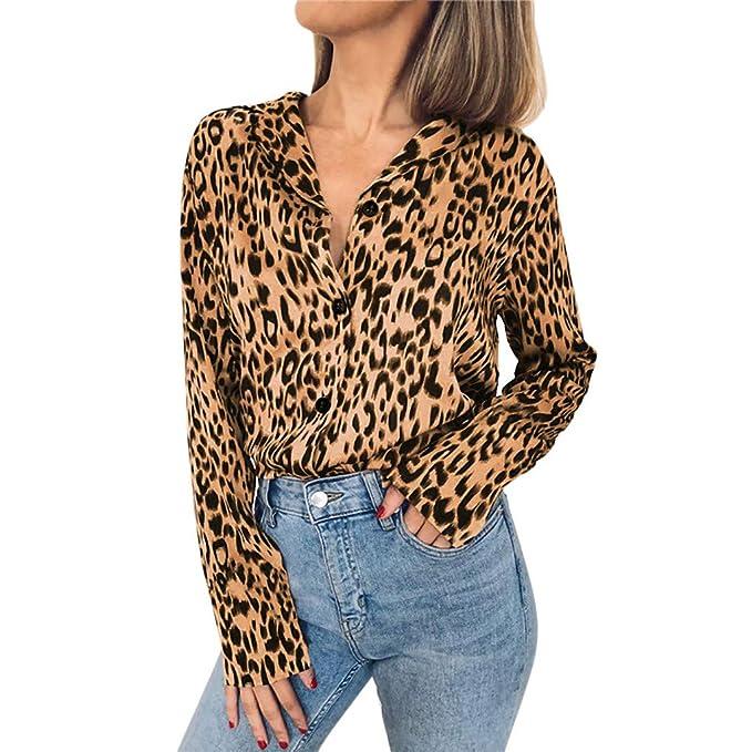Ropa Mujer Primavera 2019 Fossen Elegante Blusa Mujer Estampado De Leopardo  BotóN Camisa Mujer Manga Larga Botones Cuello Tops De Fiesta  Amazon.es   Ropa y ... 2d20a34f608a6