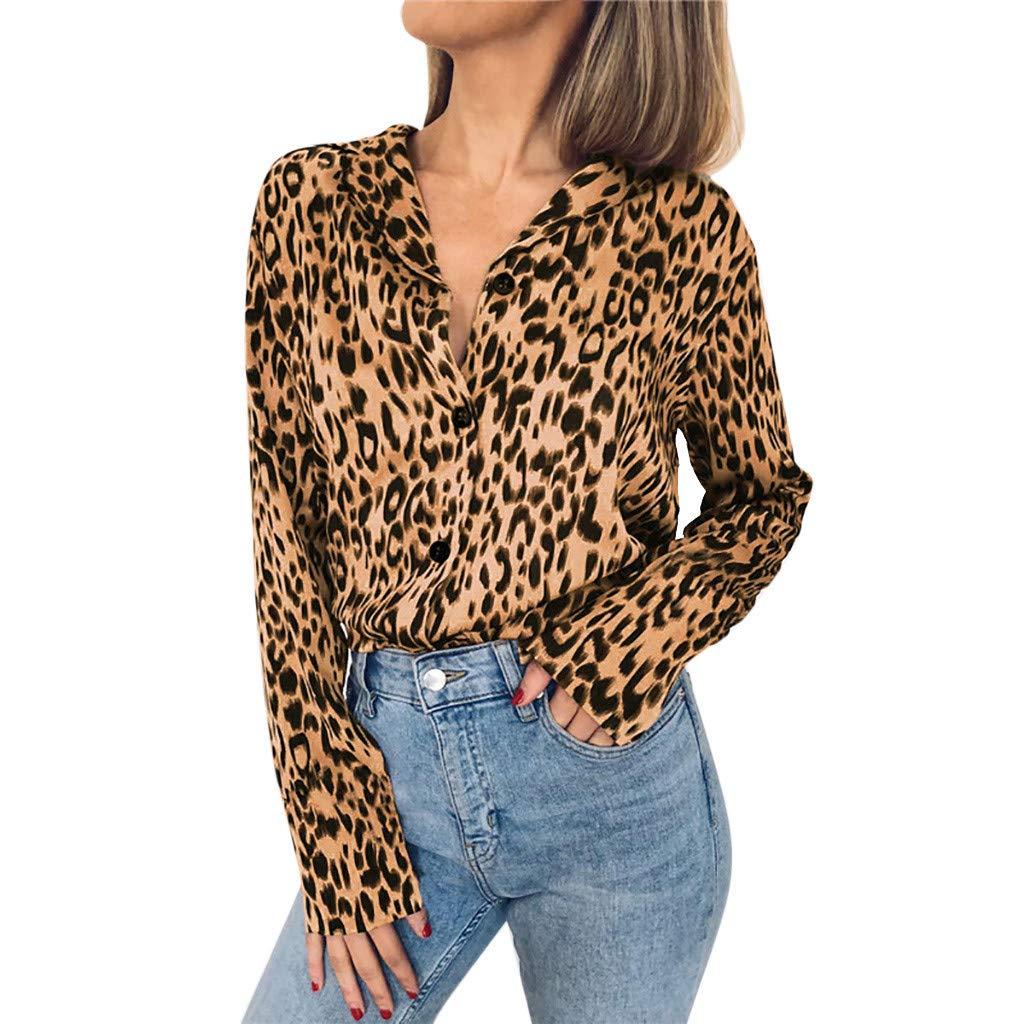 Women Leopard Print Blouse Button Turn-Down Shirts Long Sleeve Tops Casual T Shirt Sweatshirt Button Pullover