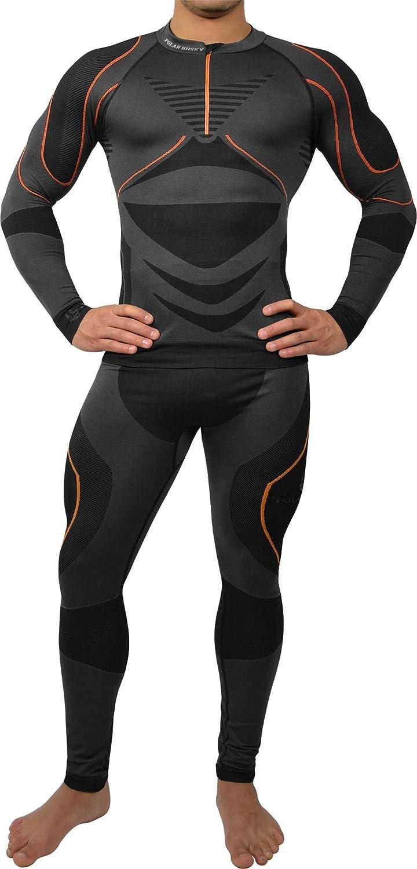 Sport Funktionswäsche Herren Set (Hemd + Hose) Seamless von POLAR HUSKY® - Ski-, Thermo- & Funktionswäsche ohne störende Nähte mit Elasthan - Funktionsunterwäsche in versch. Farben