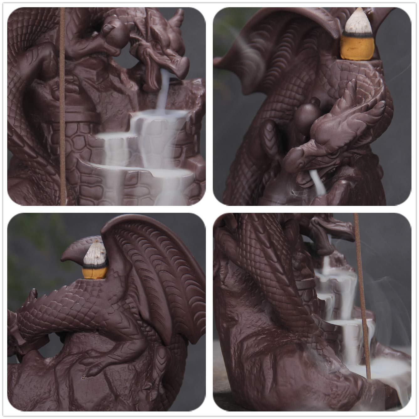 Waterfall Incense Holders Home Decor Gift Decorations Statue Ornaments OWMMIZ Fly Dragon Backflow Incense Burner with 10 PCS Backflow Incense Cones