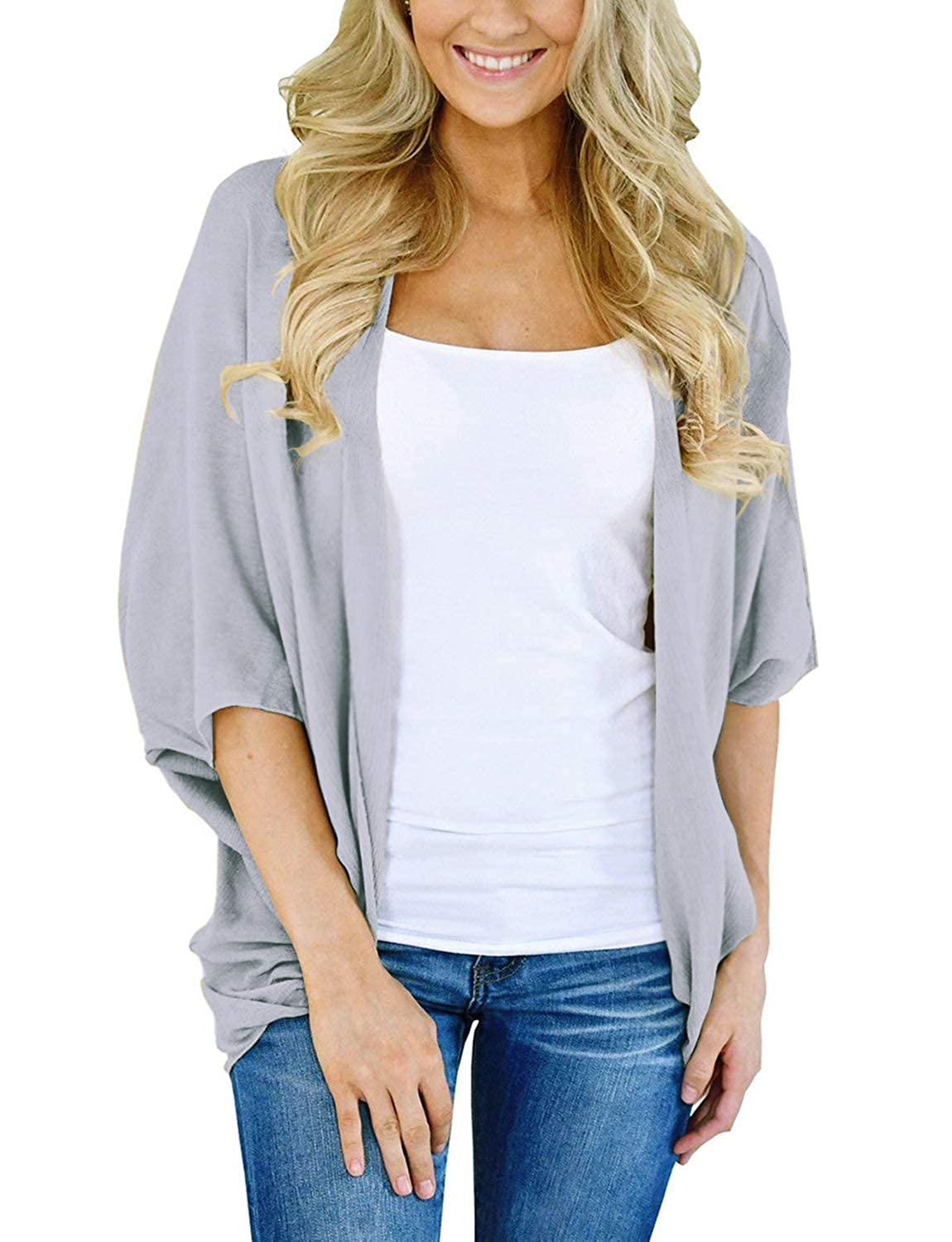 Lightweight Fall Cardigan for Women 3/4 Sleeve Solid Color Kimono Cover Up Top