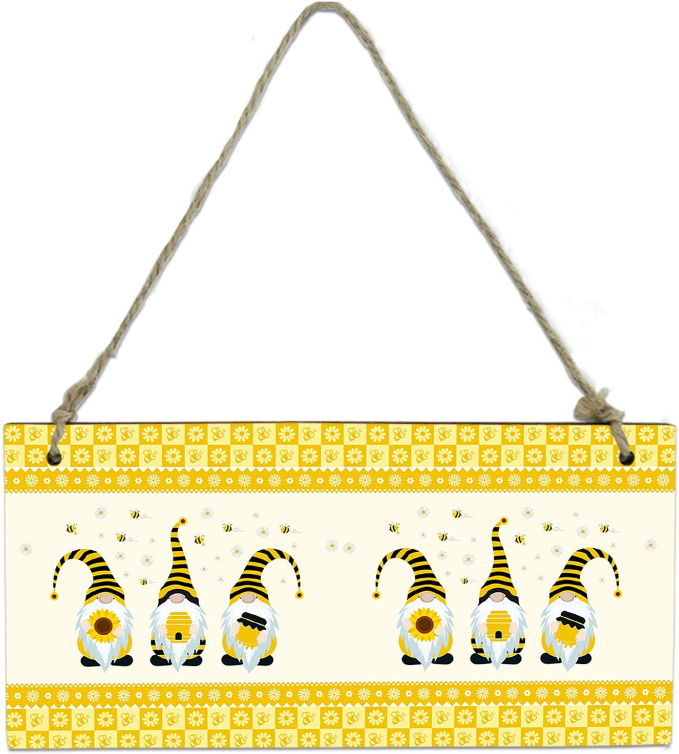 Miss Sweetheart Hanging Wall Decor Wooden Sign-Sunflower Cute Bee Gnomes Yellow Flower Border Welcome Door Sign Wood Plaque for Home Living Room Bedroom Bathroom Farmhouse Wall Decor