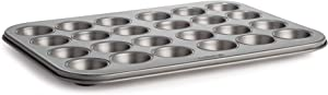 Cooking Light Mini Muffin Cupcake Baking, 24 Cup Size, Easy to Clean, Non-Stick Bakeware, Heavy Duty Performance Pan, Gray
