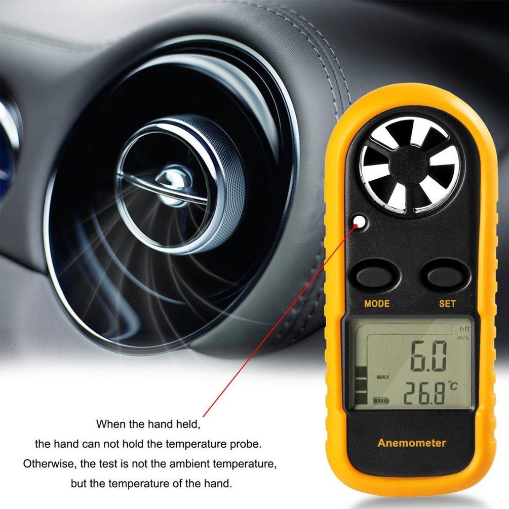 Gm816numérique anémomètre Air Vent Vitesse Échelle Jauge Mètre Thermomètre Gugutogo