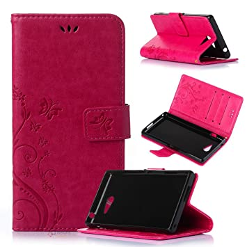 Beiuns Funda de PU Piel para Sony Xperia M2 Carcasa - R155 Rojo pasión