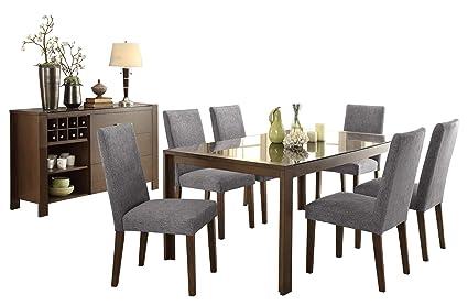 Amazon Com Factor Modern 8pc Dining Set Black Glass Top
