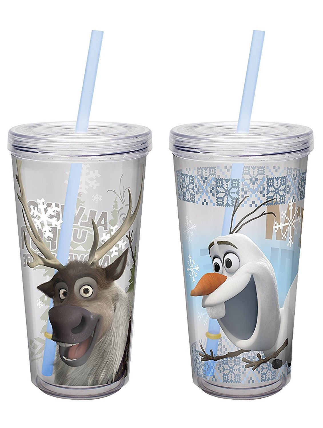 Insulated Tumbler with Screw-on Lid and Straw featuring Sven & Olaf from Frozen, 16 oz