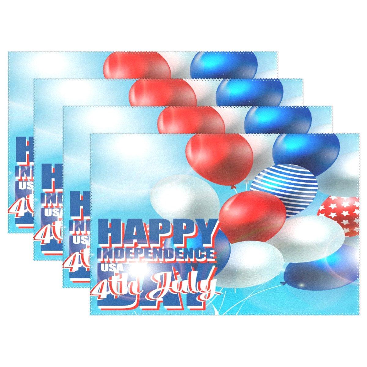 Wozo Happyアメリカ7月4日独立記念日バルーンプレースマットテーブルマット、American Flag 12