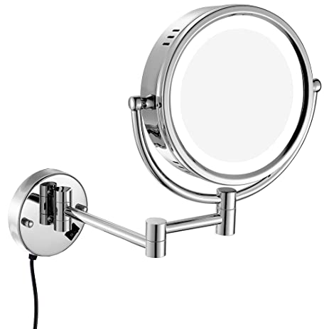 Amazon gurun 8 inch wall mounted lighted magnifying mirror gurun 8 inch wall mounted lighted magnifying mirror two sided swivel with 7x magnification mozeypictures Image collections