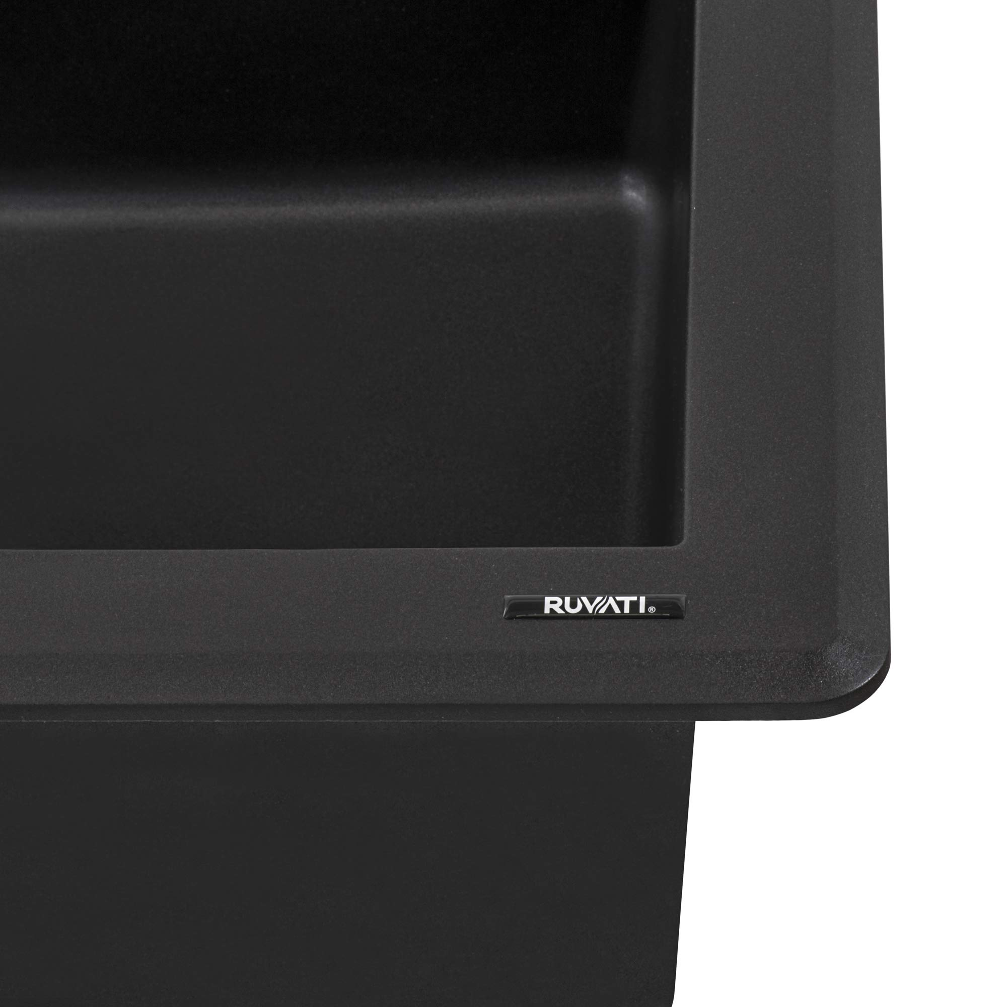 Ruvati 33 x 22 inch Dual-Mount Granite Composite Single Bowl Kitchen Sink - Midnight Black - RVG1033BK by Ruvati (Image #3)