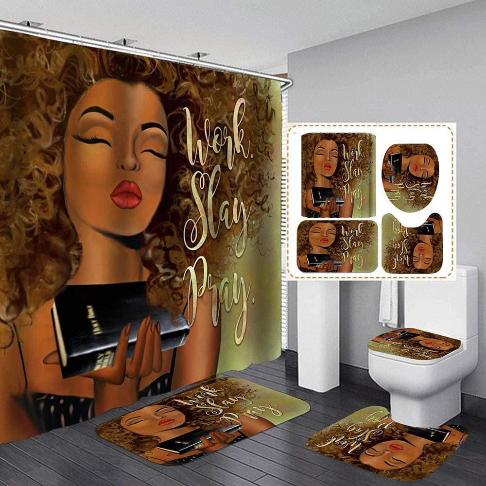 Shower Curtains Sets for Bathroom ,4 Pcs African American Black Women Bath Decor with Washable Toilet Lid Cover, Non-Slip Rugs, Absorbent Bath Mats and Waterproof Shower Curtain with Plastic Hooks