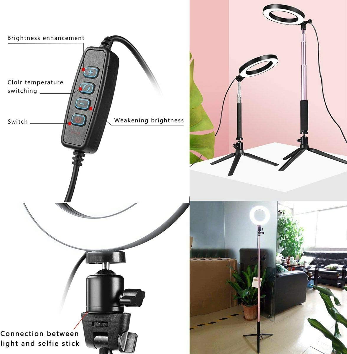 JASZW 8 inch LED Ring Light with//Stand Dimmable LED Lighting Kit for Makeup YouTube Live