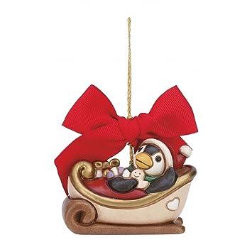Thun Slitta Piccola Da Appendere Con Pinguino Addobbo Natalizio