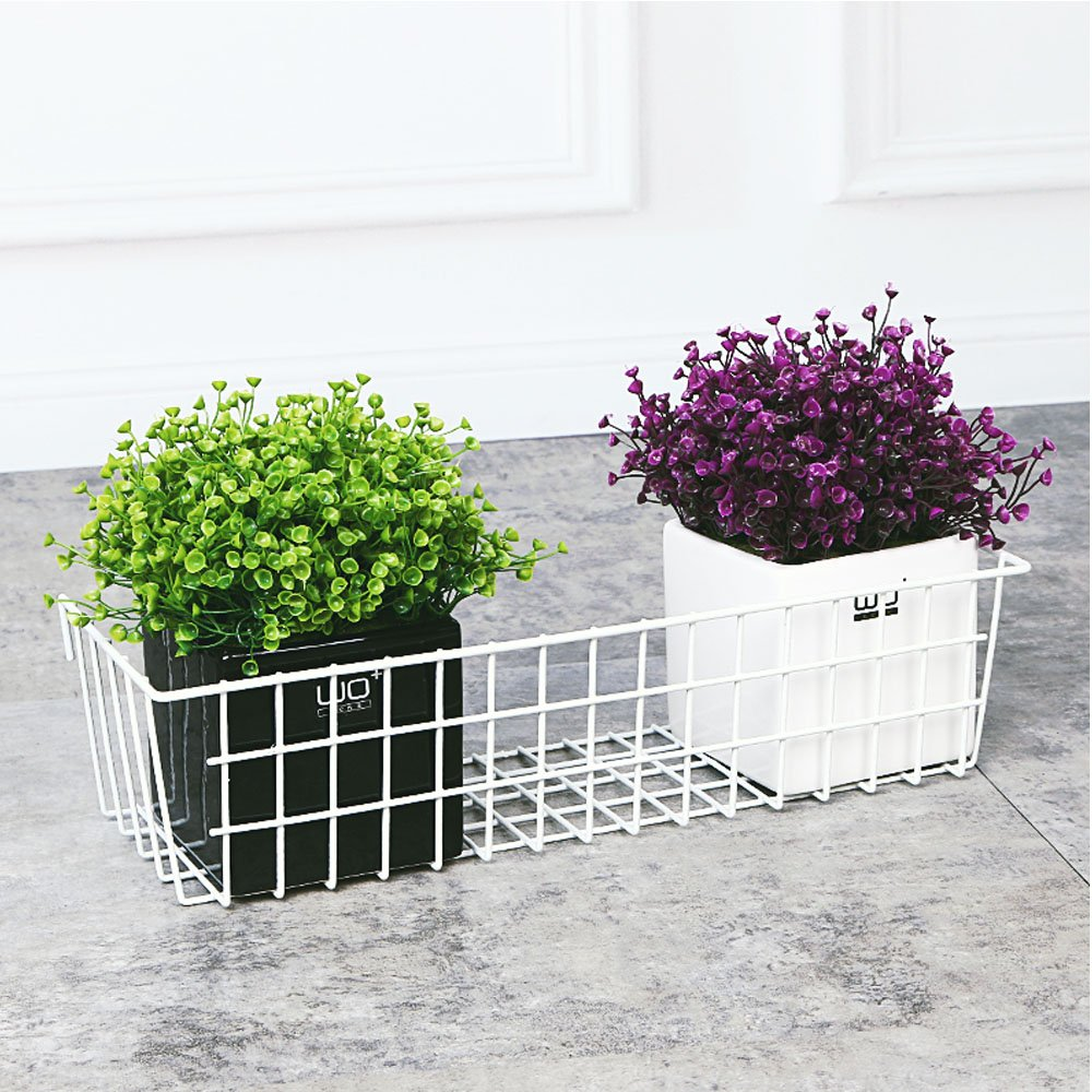 Wire Storage Shelf Rack for Home Supplies Black Surethingz Wire Wall Basket Wall Decoration Grid Basket with Hook Wall Mount Organizer for Wall Grid