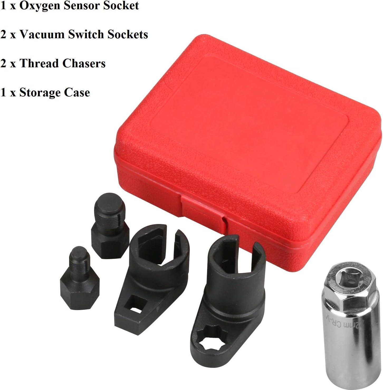 Thread Chaser Automotive Oxygen Sensor Socket Wrench Removal Tool Oxygen Sensor Socket,Offset Wrench Remover Tool A7841F-FBA Thread Chaser Set 5 Pcs by Lucky Seven