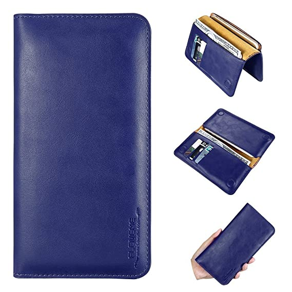 super popular 12414 767c0 AIOMAO Universal Leather Wallet Case Phone Bags Case 5.5 inch Cove For  Samsung S7 S6 S5 for iPhone 7 6 6S Plus SE 5S 5 Soft Brand Cover Purse(BLUE)