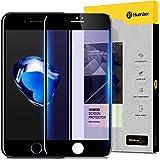 iPhone8 ガラスフィルム iPhone7 ガラスフィルム [ ブルーライトカット 目の疲れ軽減 ] [ 9H硬度 0.3mm薄さ ] [ フルカバー 気泡防止 ] [ 代替品のガラスフィルム付き ] ( iPhone 8 iPhone 7 )( ブラック )【Humixx】
