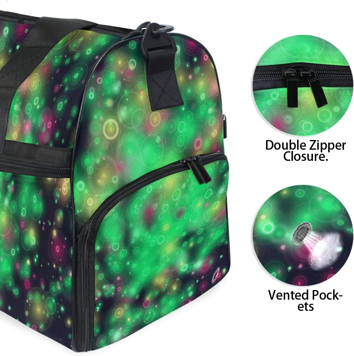 FANTAZIO Bubbles In The Black Sky Sports Duffle Bag Gym Bag Travel Duffel with Adjustable Strap