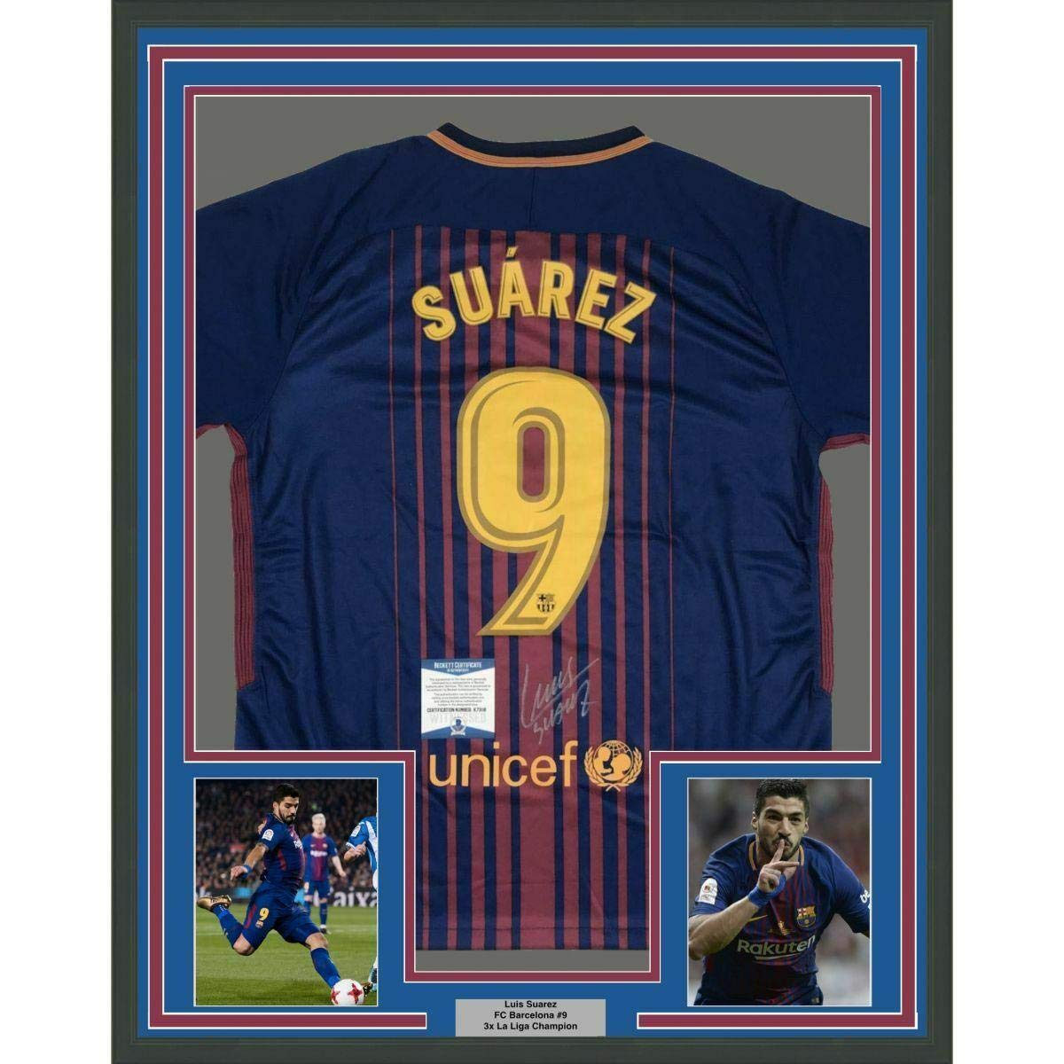 new style 5e8bd bf8c0 Autographed Luis Suarez Jersey - FRAMED 33x42 Beckett BAS ...