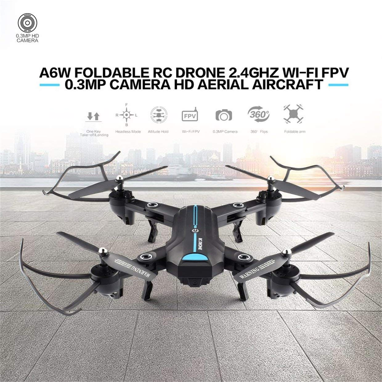 Qewmsg A6W Plegable RC Drone Wi-Fi FPV con cámara de Video en Vivo Altitude Hold Quadcopter: Amazon.es: Juguetes y juegos