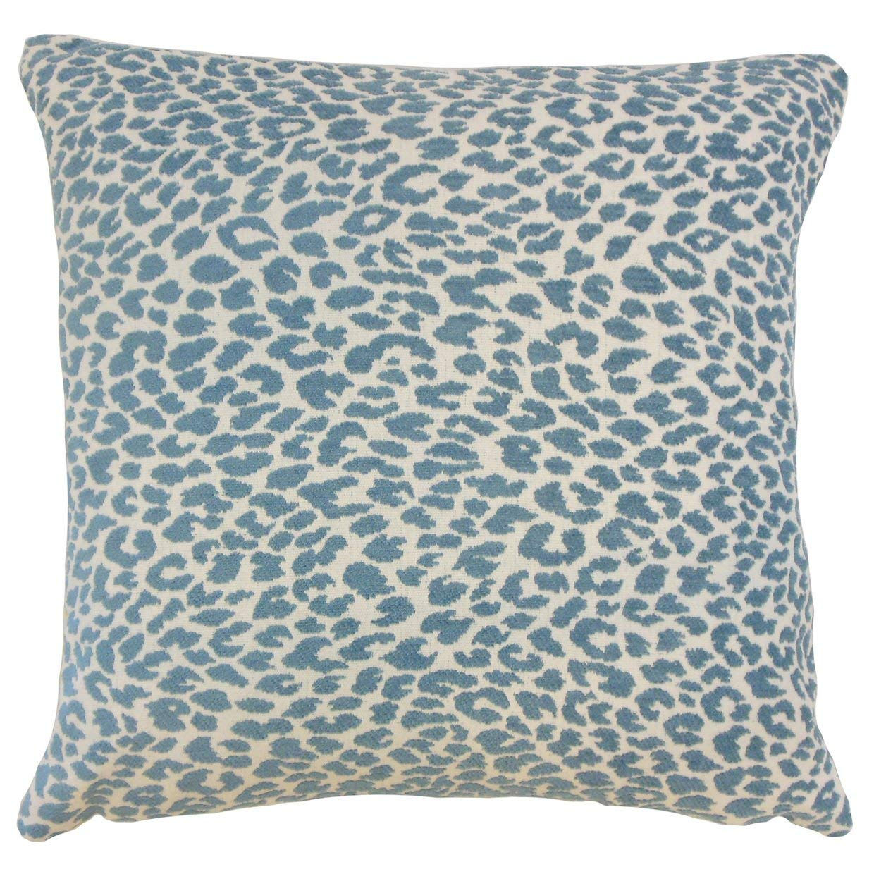 The Pillow Collection Pesach Animal Print Delft Down Filled Throw Pillow