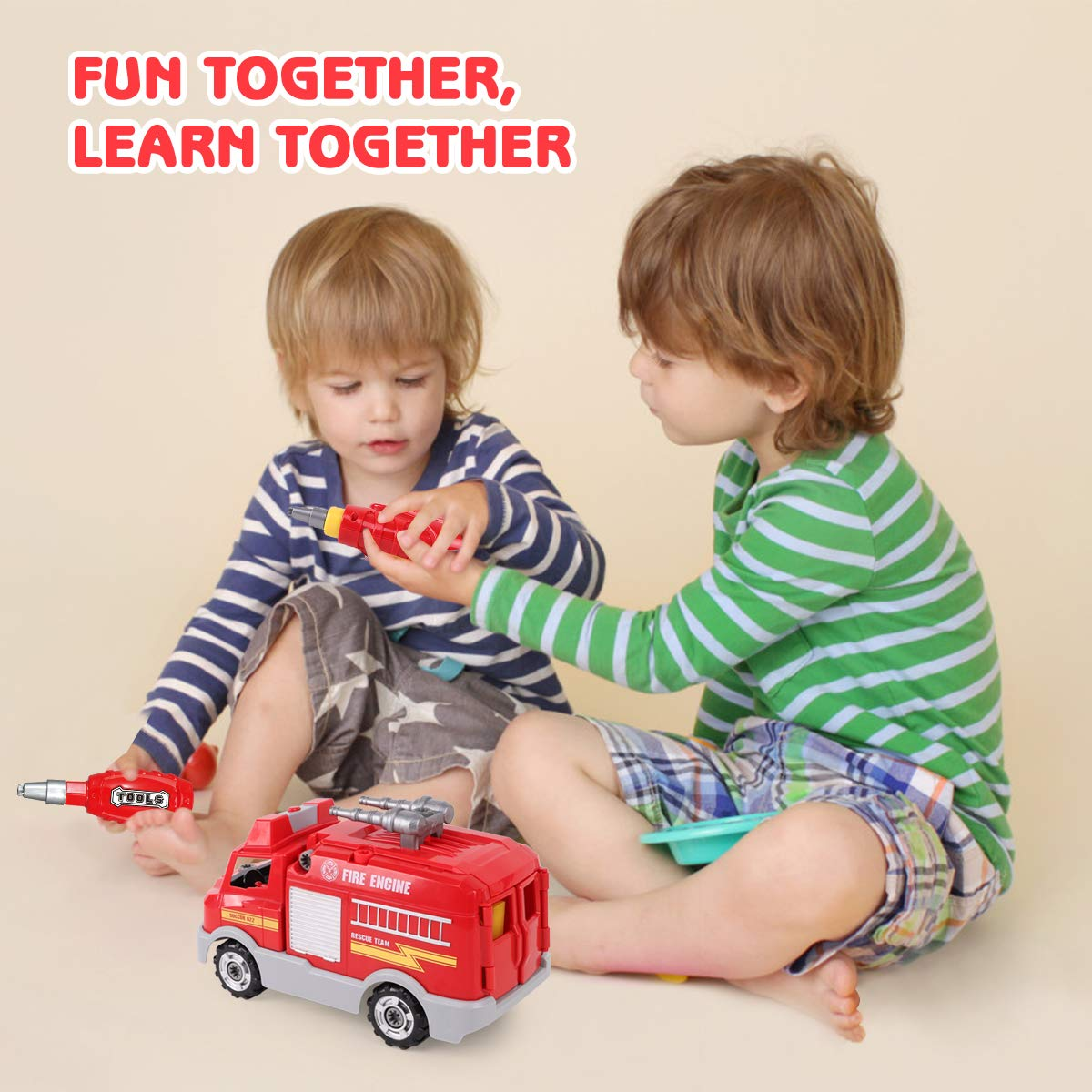 REMOKING STEM Learning Take Apart Toy for Boys & Girls, Build Your Own Car Toy Fire Truck Educational Playset with Tools and Power Drill, DIY Assembly Car with Realistic Sounds & Lights (3+ Ages) by REMOKING (Image #6)