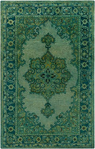 Gilbertsville 8 x 11 Rectangle Updated Traditional 100 Wool Olive Teal Sage Emerald Area Rug