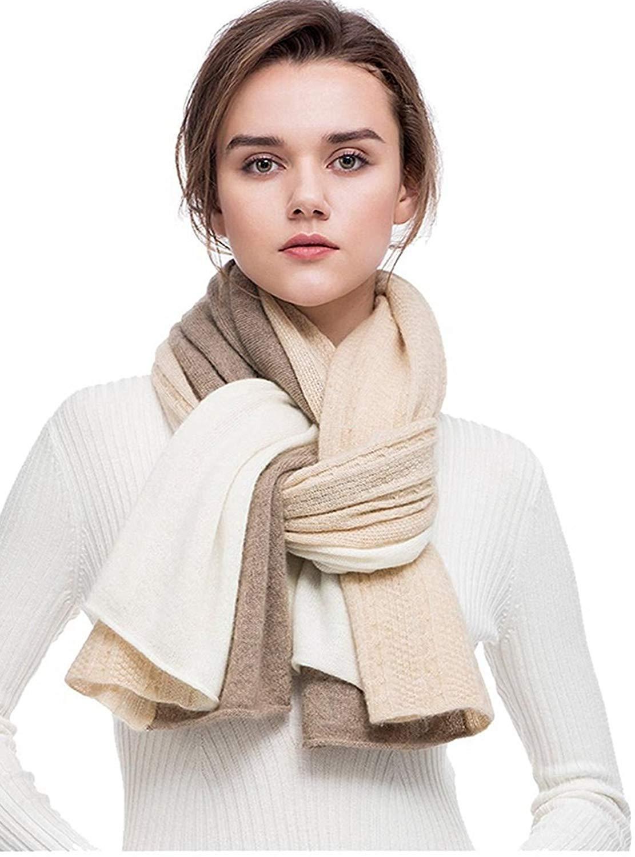 women scarves 100% Cashmere scarf Winter Wrap Pashmina Extra Large cashmere Shawl Contrast Color cable pattern Twist Knit (Beige)