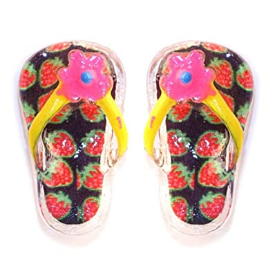 42184667d2bdd Stud Earring Handpainted Crazy Flip Flop (Strawberry Print) Made ...