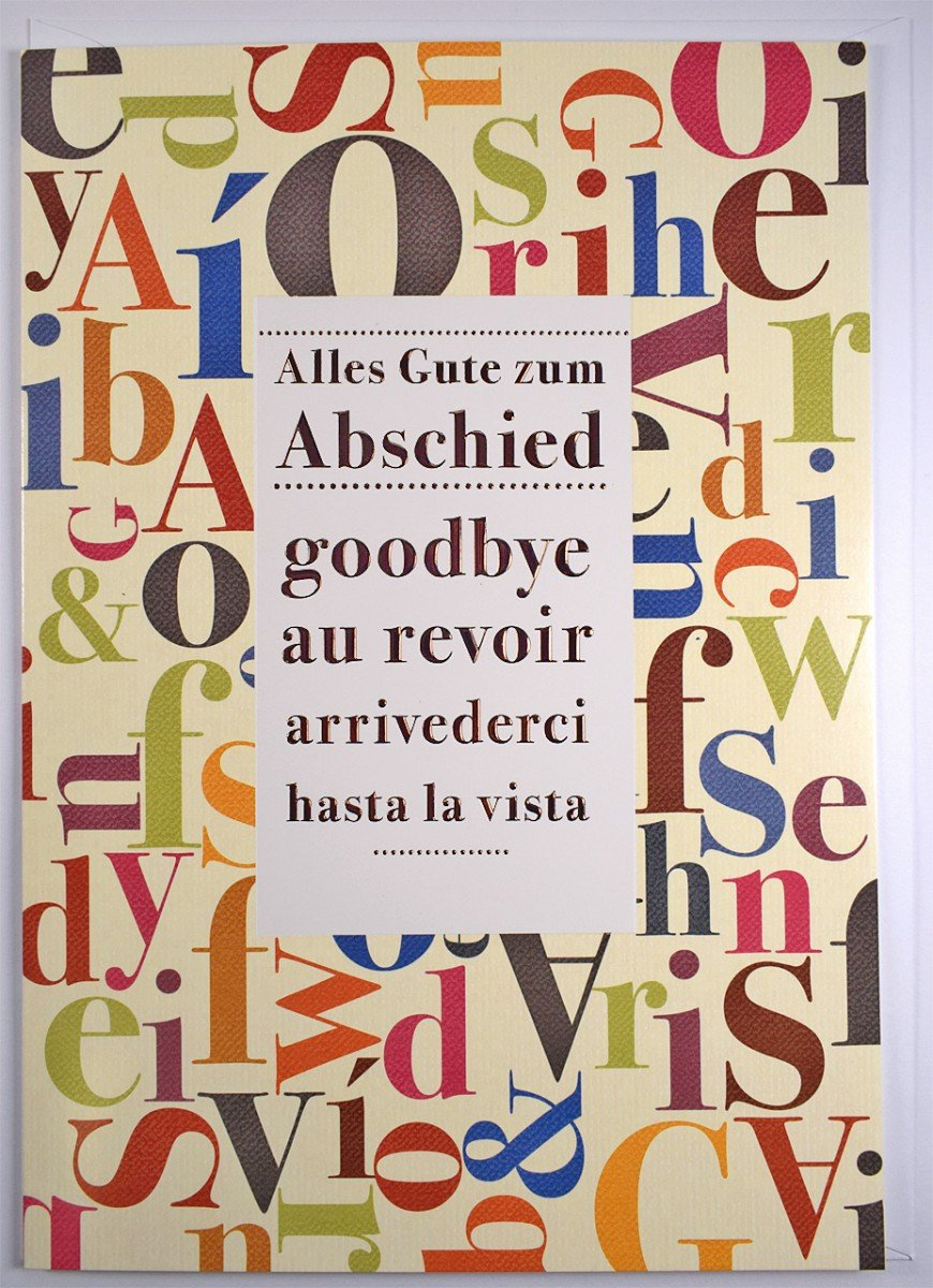 A4 XXL tarjeta de despedida multilingües Alles Gute con ...