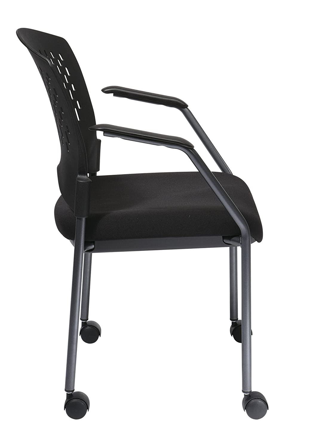 Amazon.com: Office Star Ventilated Plastic Back And Padded Coal FreeFlex  Seat, Fixed Arms, Titanium Finish Stacking Visitors Chair With Casters, ...