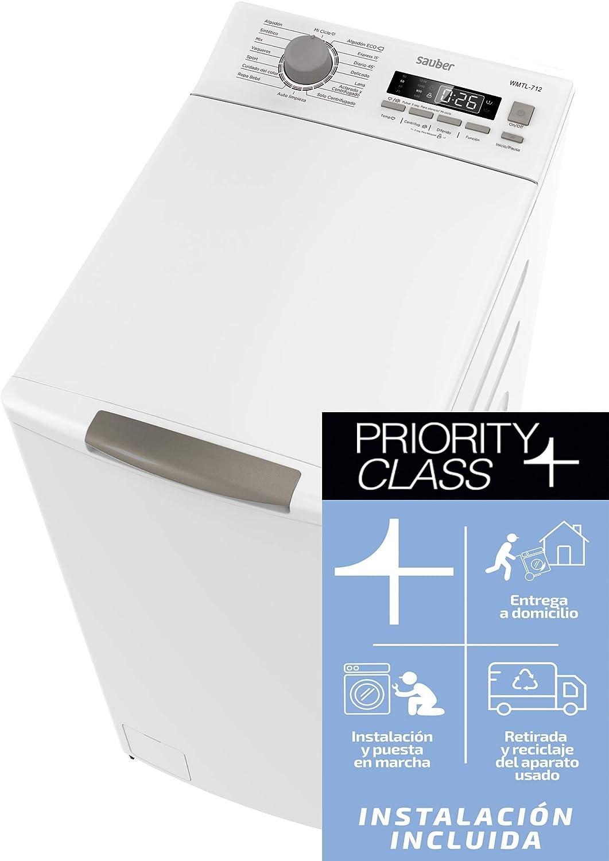 Sauber - Lavadora de carga SUPERIOR WMTL712-7,5 kg - 1200 RPM - Eficiencia energética: A+++ - Color Blanco - Motor INVERTER