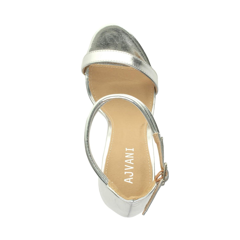 Sandali da Donna Tacco Alto a Stiletto Doppio Cinturnino Argento Argento Argento metallizzato f94ff0
