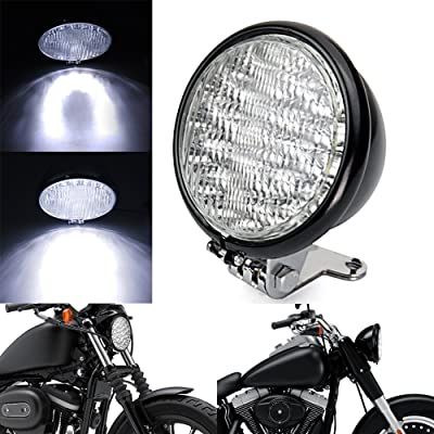 "DLLL Universal Chrome 5"" Motorcycle 30 LED Front Headlight Head Lamp Bracket Set for Harley Honda Cruiser Cafe Racer Bobber Vespa Kawasaki Yamaha Honda Suzuki (Black): Sports & Outdoors"