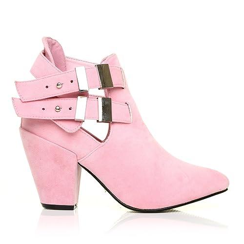 MARLEY - Botines con tacón cuadrado para mujer - Ante rosa pastel, Sintético, 41: Amazon.es: Zapatos y complementos