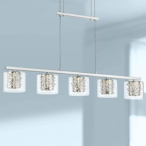 Chrome Linear Island Pendant Chandelier 37 1 2 Wide Modern Pulley System Clear Glass LED 5-Light Fixture for Kitchen Island Dining Room – Possini Euro Design