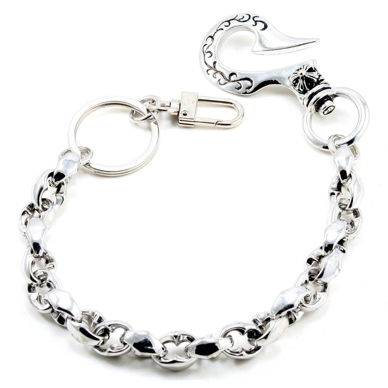 DoubleK Simple Classic Key Jean Wallet Chain (14''/3.6oz) Silver CS105
