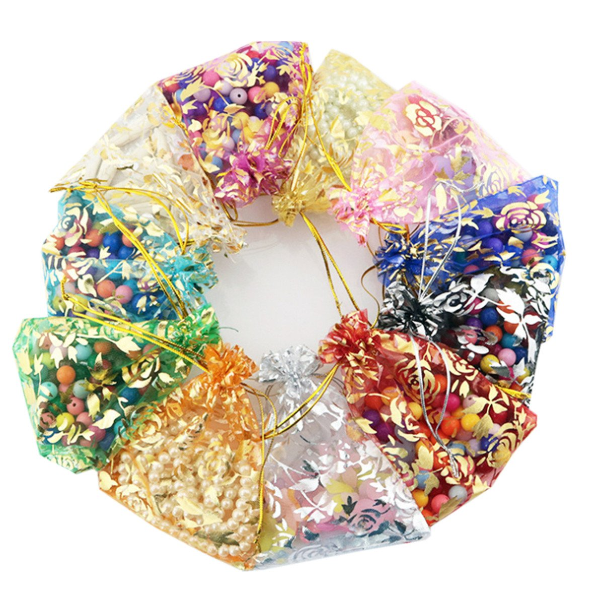 E Support 100Pcs Organza Pouches Tulle Sheer Drawstring For Jewelry Candy Wedding Party Christmas Favor Gift Bags Rose Mixed Color (4.33x6.30)