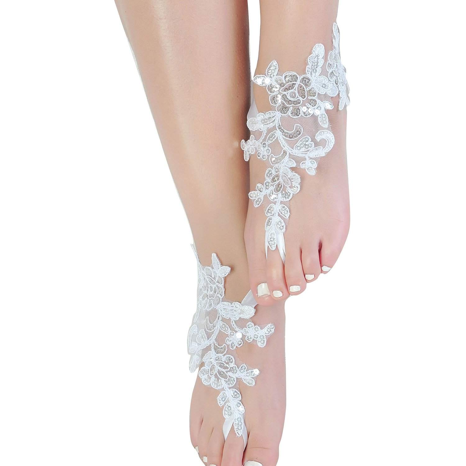 Fine Lady Embroidered Lace Barefoot Sandals Bridesmaid Anklet Gift Bellydance Steampunk Beach Pool Party Accessory