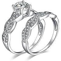JewelryPalace Infinito Anillos Mujer Plata Diamante Simulado, 1.5ct Anillos de Compromiso Plata de ley 925 Mujer Oro…