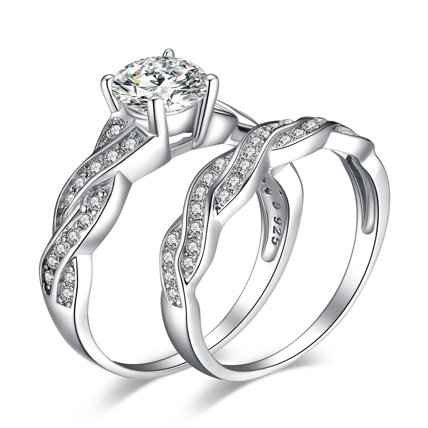 JewelryPalace Wedding Bands Rings Engagement Rings Anniversary Promise Rings 925 Sterling Silver Rings 1.5ct White Cubic Zirconia X Infinity CZ Rings For Women Size 7 by JewelryPalace