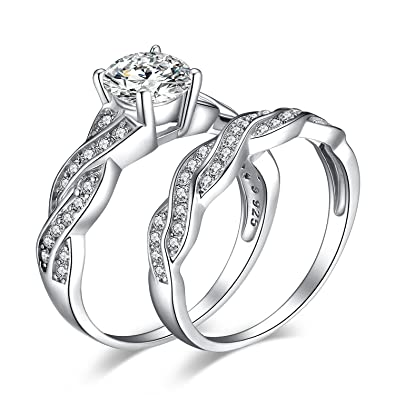 cf78a6be72 JewelryPalace Wedding Rings Engagement Rings For Women Anniversary Promise  Ring Bridal Sets 925 Sterling Silver 1.5ct X Infinity White Cubic Zirconia  CZ ...