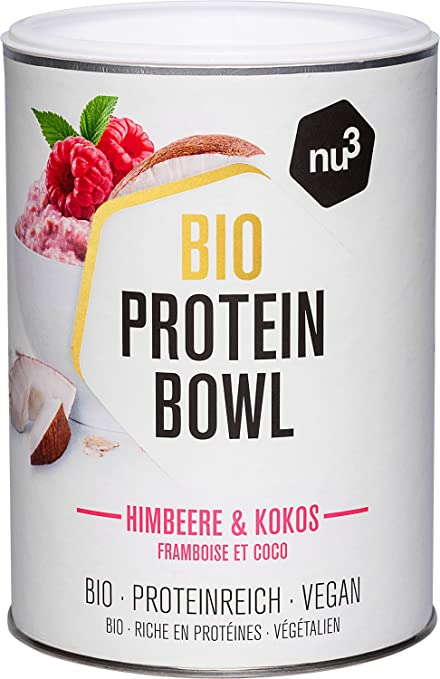 nu3 Protein Bowl orgánico sabor frambuesas & coco | 300g de gachas de avena sin gluten