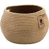 Goodpick Cute Round Basket - Cotton Rope Jute Baskets in Living Room Woven Towel Basket Bedroom Storage Bakset for…
