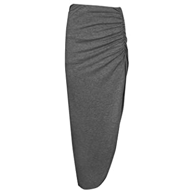d7ed4f52d5 LADIES SIDE RUCHED HIGH SLIT SEXY SIDE SPLIT JERSEY LONG MAXI SKIRT SIZE 8- 14[CHARCOAL GREY,M/L (UK 12-14),RUCHD-SKRT-SL: Amazon.co.uk: Clothing