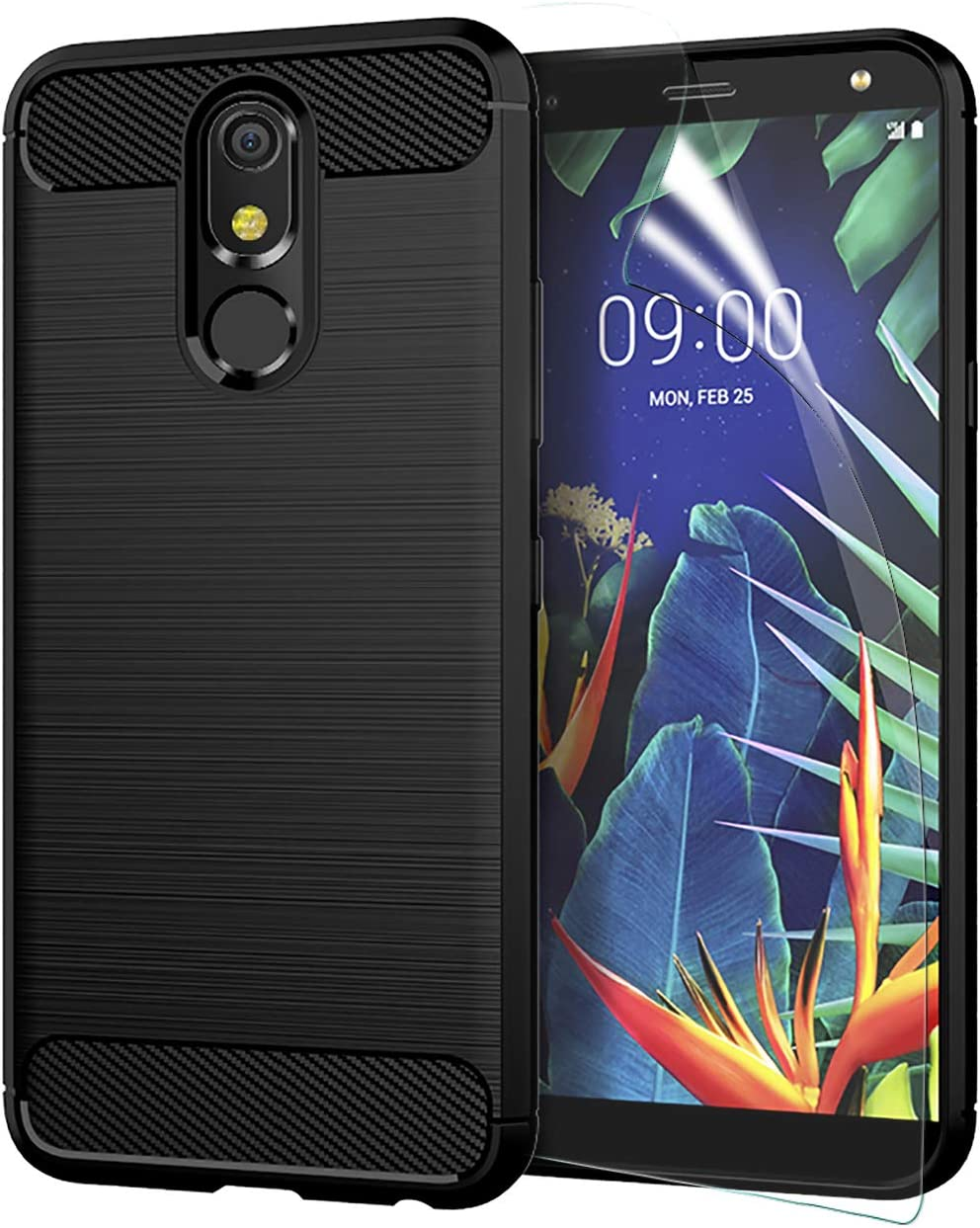 CaseRoo LG K40 Case 2019,LG Xpression Plus 2 CasewScreen Protector,LG Solo LTE/LG Harmony 3/LG K12 Plus Phone Case,LG K40 Brushed Soft Slim Anti-Scratch Anti-Slip Rubber Bumper Protective Cover,Black