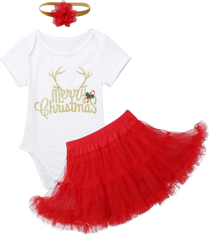 FANCYINN Baby Girls First Christmas Costumes Elf Lil Outfit Newborn Xmas Onesie