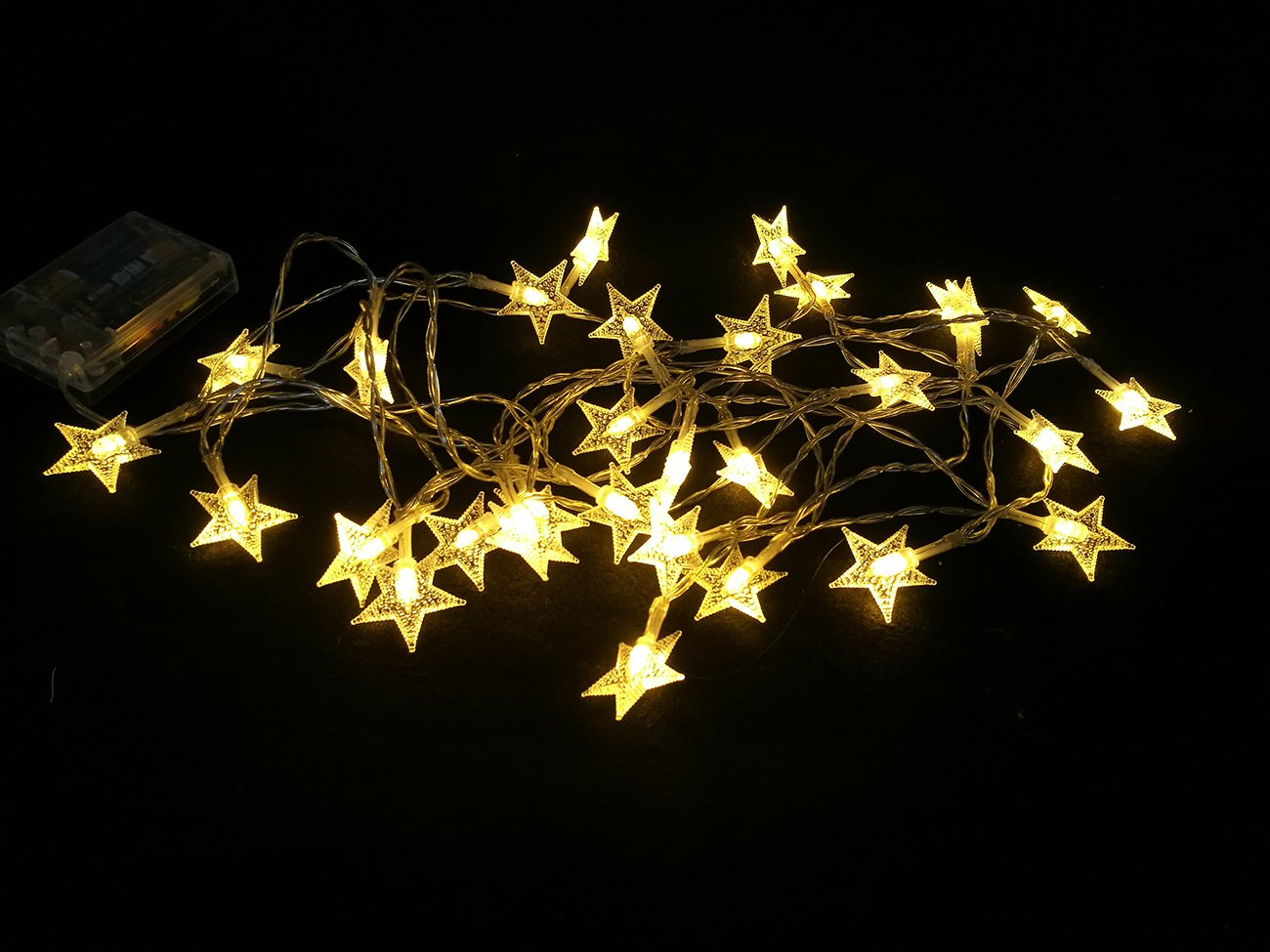 Stars Fairy Lights Battery Operated String Lights 4.5M 30 LED Warm White Mood Light for Home Wedding Party Holiday Winterworm