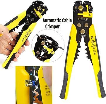 Safekom cortador de alambre eléctrico resistente pelacables herramienta de corte automático de trinquete terminales cable Crimper automático pelacables y ajustable perilla alambre de corte alambre: Amazon.es: Informática