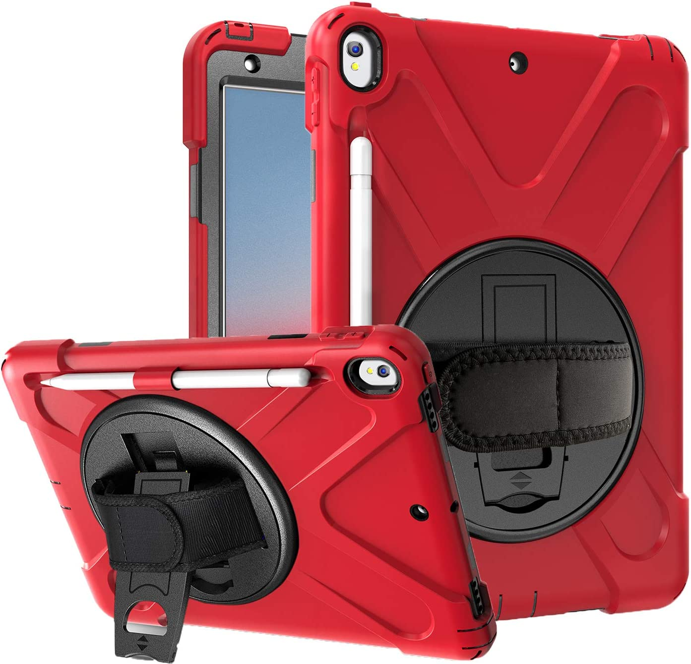 """Azzsy iPad Air 3 Case 10.5"""" 2019/iPad Pro 10.5 Case 2017,[360 Degree Swivel Stand/Hand Strap] Heavy Duty Shockproof Rugged Full Body Protective Case for iPad Air (3rd Generation) 10.5"""" 2019 (red)"""